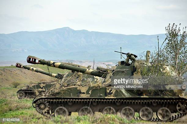 Mobile artillery units of the self-defence army of Nagorno-Karabakh hold a position outside the settlement of Hadrut, not far from the Iranian...
