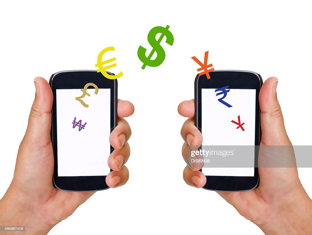 Mobile banking in smart phones : Stock Photo