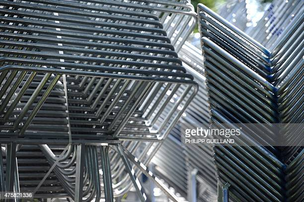 Mobile barriers are stacked on a parking lot next to the main road to Elmau castle during preparation for G7-summit on June 4, 2015 in Klais near...