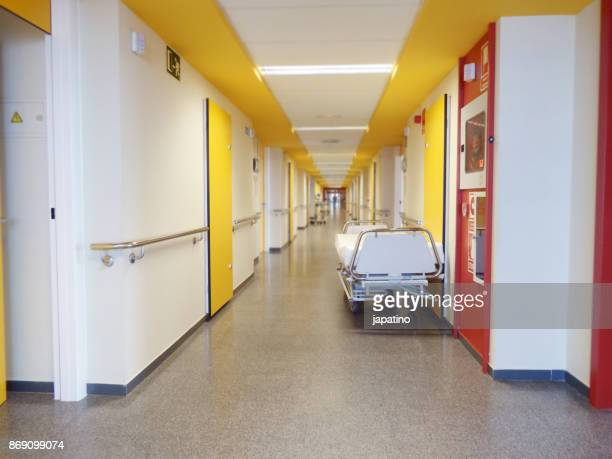 mobile bed in the corridor of a hospital - antibiotic resistant stock pictures, royalty-free photos & images