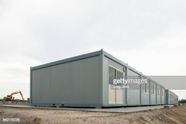 mobile building in industrial site or office container in construction site - temporary stock pictures, royalty-free photos & images