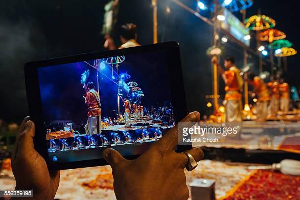Mobile capture of Ganga Aarti at Varanasi