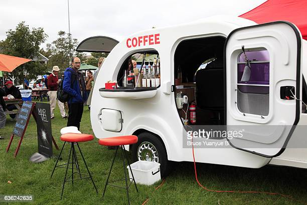 A mobile coffee cart on farmers market