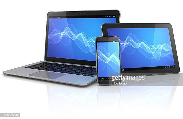 Mobile computing devices with blue wave background