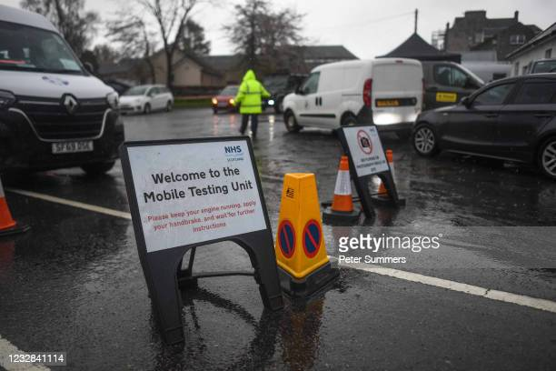 """Mobile covid testing site is seen on May 12, 2021 in Grantown-On-Spey, Scotland. NHS Highland has said the new variant of Covid-19 is a """"variant..."""
