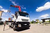 Mobile crane, white truck