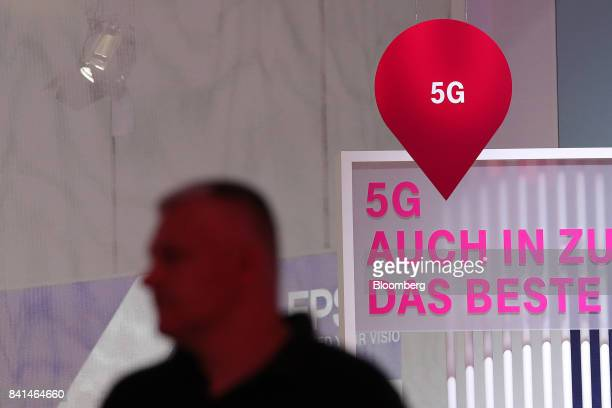 A 5G mobile data service sign sits on display at the Deutsche Telekom AG exhibition stand during the IFA Consumer electronics show in Berlin Germany...