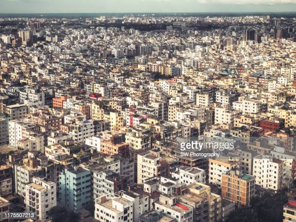 mobile device photo of dhaka crowed residential area - bangladesh stock pictures, royalty-free photos & images