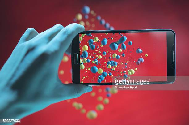 Mobile device taking picture of abstract shape
