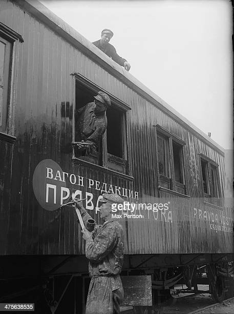 Mobile editor's railroad car of 'Pravda Vostoka' daily paper Uzbekistan circa 1940