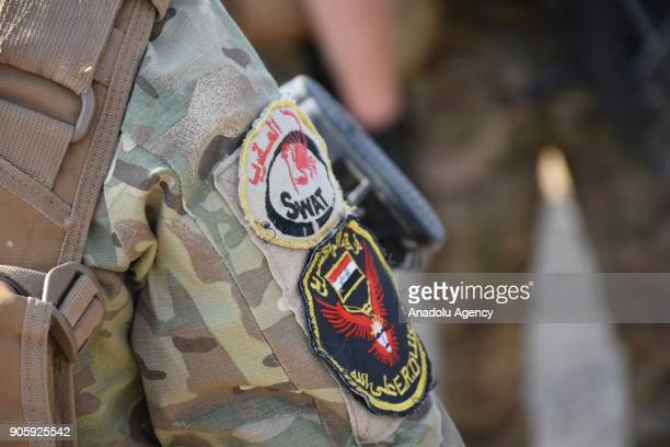Mobile force members up to Iraqi Interior Ministry provide the security in the Tuz Khurmatu district of Saladin Iraq on January 17 2018