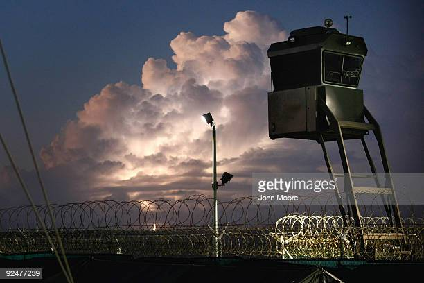 "Mobile guard tower stands over a camp for Chinese Uighur detainees at the U.S. Military prison for ""enemy combatants"" on October 28, 2009 in..."