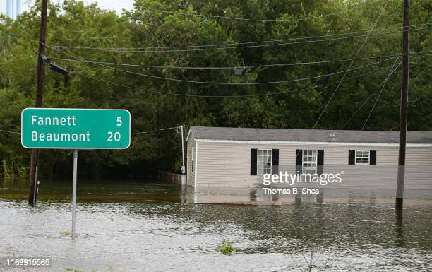 A mobile home is flooded on highway 124 on September 20 2019 in Beaumont Texas Gov Greg Abbott has declared much of Southeast Texas disaster areas...