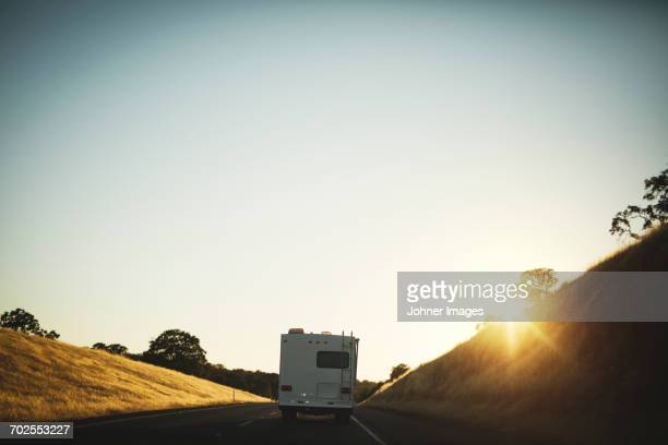 Mobile home on road