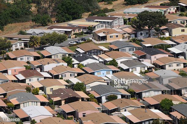 mobile home park aerial view in california - san jose california stock pictures, royalty-free photos & images
