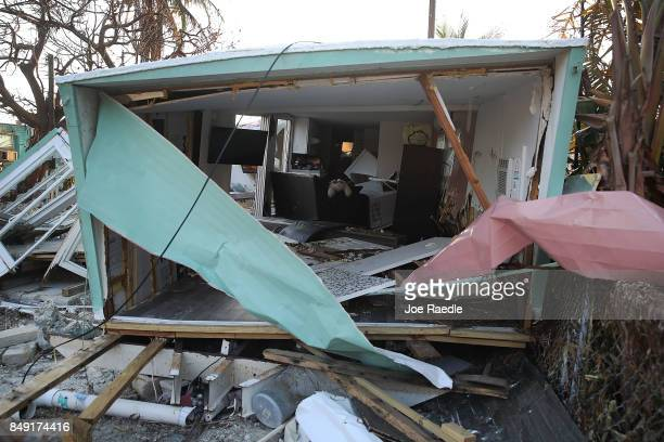 A mobile home that was destroyed by hurricane Irma is seen on September 18 2017 in Marathon Florida The process of rebuilding has begun as the...