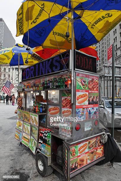 Mobile hot dog vendor cart outside City Hall New York