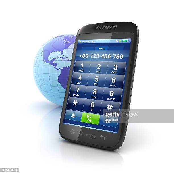mobile international calls dialpad - telephone number stock pictures, royalty-free photos & images