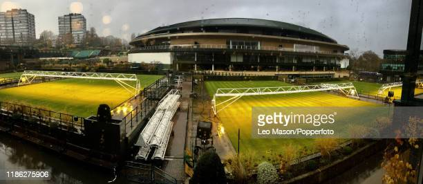 November 27: Mobile lighting rigs being deployed on some of the tennis courts at Wimbledon, the home of the All England Lawn Tennis & Croquet Club,...