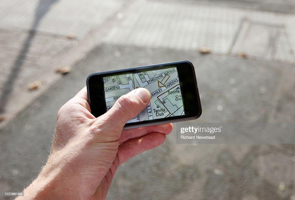 Mobile map navigation : Stock Photo