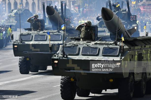 Mobile missile launch systems roll on Kiev central street during a military parade on August 24 2018 to celebrate the Independence Day 27 years since...