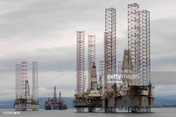 Mobile offshore drilling units stand in the Port of Cromarty Firth in Cromarty UK on Tuesday June 23 2020 Oil headed for a weekly decline only the...
