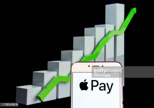 Mobile payment and digital wallet service by Apple Apple Pay logo is seen on an android mobile device with an ascent growth chart in the background