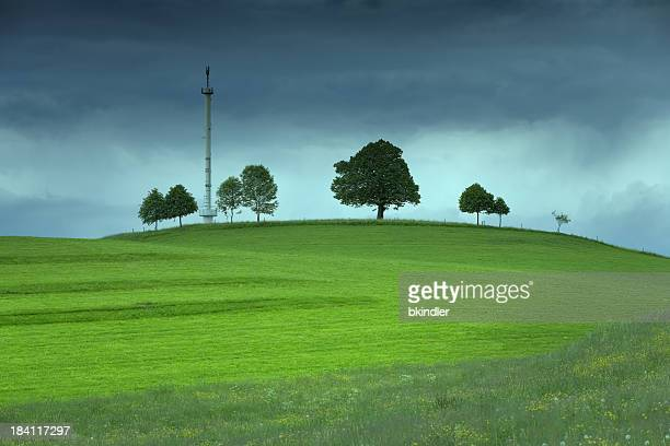 Mobile phone antennae on a green field