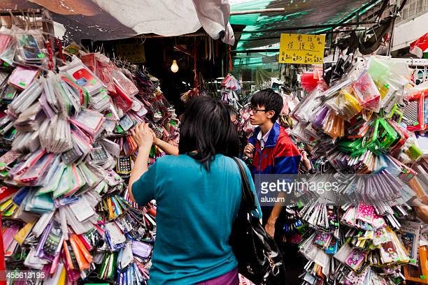 Mobile phone cases in market stall