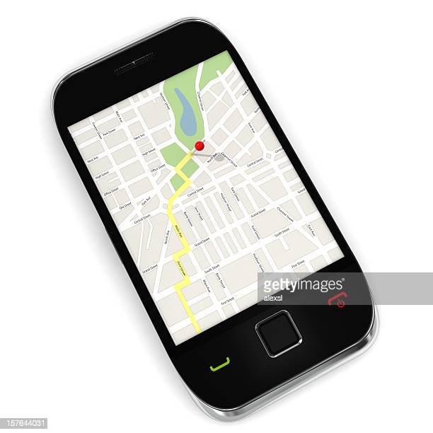 mobile phone gps - gps map stock photos and pictures