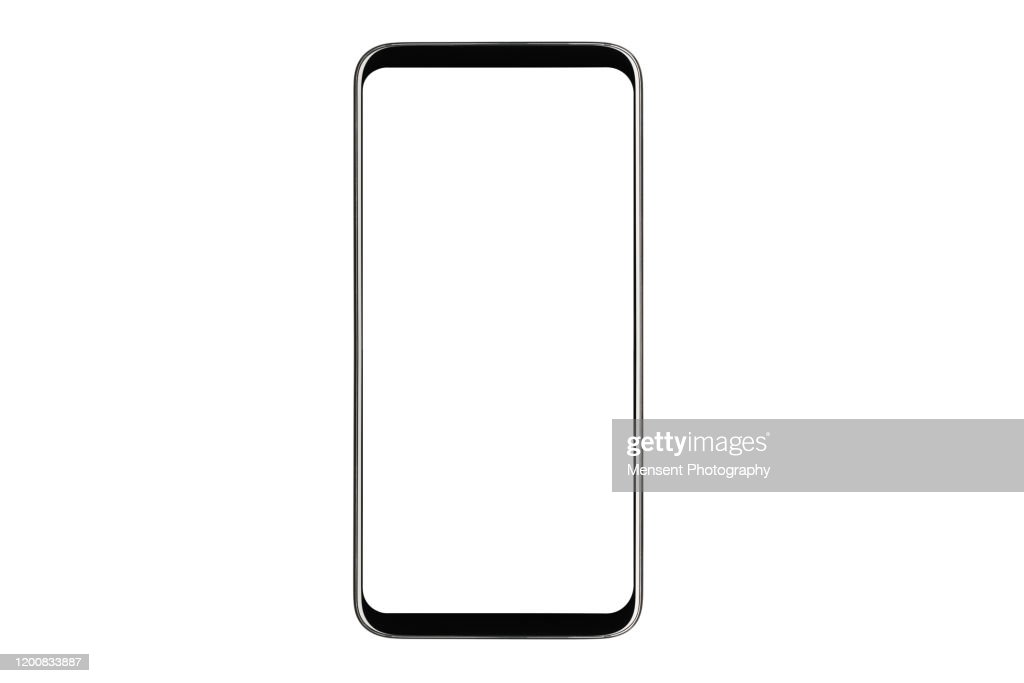 Mobile Phone isolated mockup with white screen isolated on white background : Stock Photo