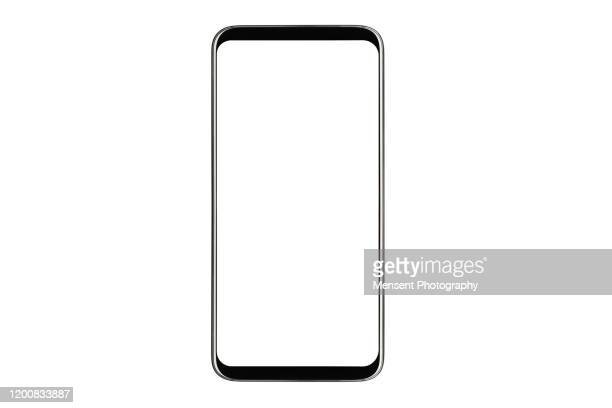 mobile phone isolated mockup with white screen isolated on white background - beeldscherm stockfoto's en -beelden