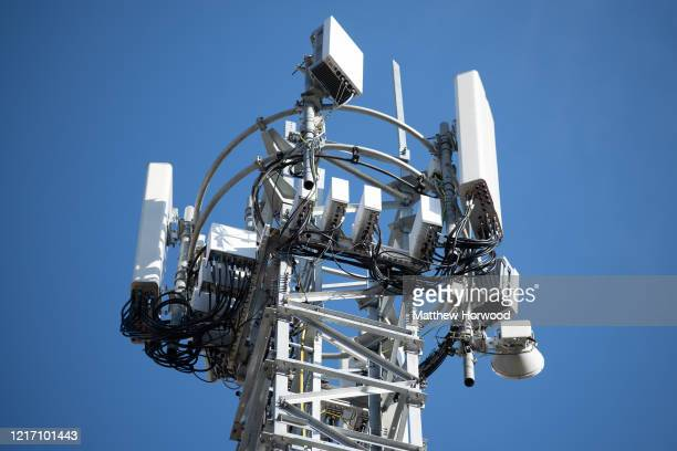 Mobile phone mast on April 04, 2020 in Cardiff, United Kingdom. There have been isolated cases of 5G phone masts being vandalised following claims...