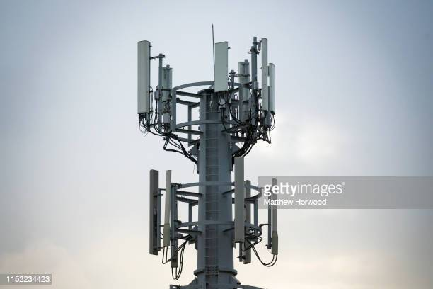 Mobile phone mast on May 27, 2019 in Cardiff, United Kingdom. 5g is due to launch in the UK from EE on May 30.