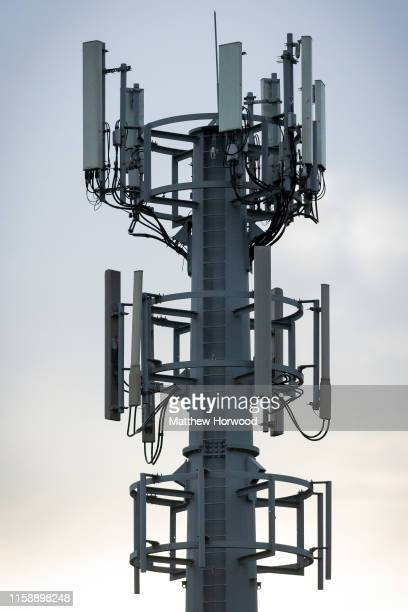 A mobile phone mast on May 27 2019 in Cardiff United Kingdom 5g is due to launch in the UK from EE on May 30