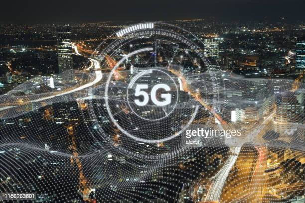 5g mobile phone network security connection internet communication - 5g foto e immagini stock
