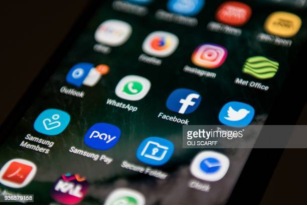 A mobile phone screen displays the icons for the social networking apps Facebook and Twitter taken in Manchester England on March 22 2018 A public...