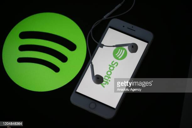 Mobile phone screen displays the logo of Spotify in Antalya, Turkey on February 27, 2020.