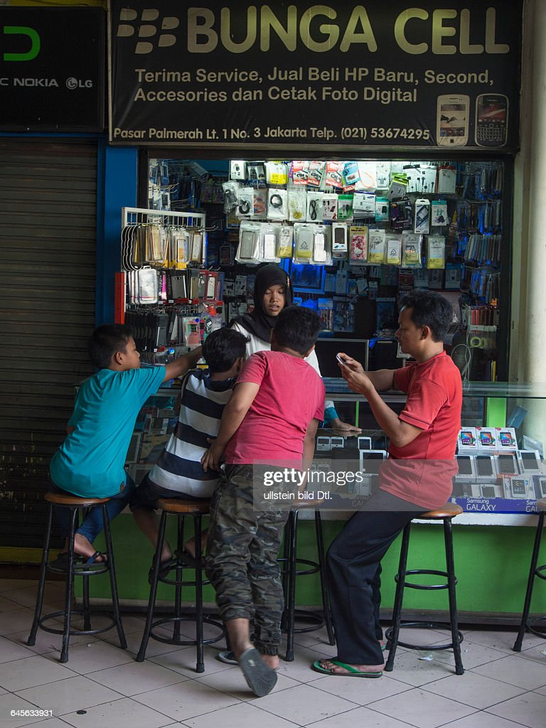 Mobile Phone Stall In A Market Place In Jakarta Indonesia Pictures