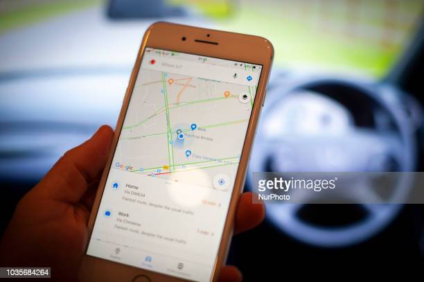 Mobile phone with the Google Maps application is seen in this photo illustration on September 18, 2018. Google is set to partner with the worlds...