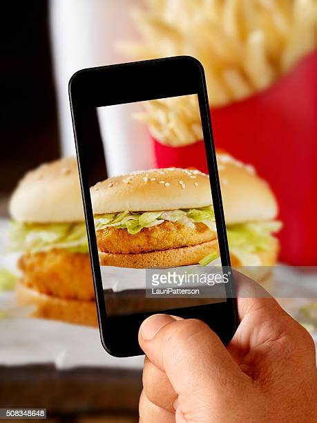 Mobile Photography of Crispy Chicken Burger
