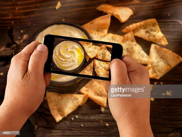 Mobile Photography of Hummus with Pita Chips