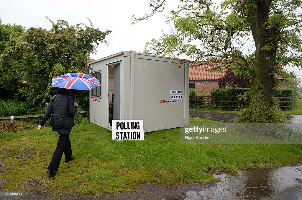 A mobile polling station in the Local and European elections on May 22, 2014 in Biggin, England. Millions of voters are going to the polls today in local and European elections.