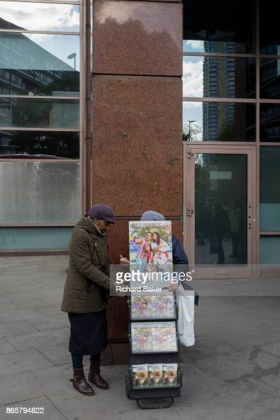 A mobile rack of Jehova's Witness pamphlets outside Elephant Castle station on 20th October 2017 in London England