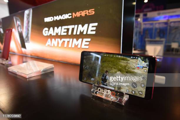 L´HOSPITALET CATALONIA SPAIN A mobile seen with technology to play online Games during the Mobile World Congress 2019 in Barcelona