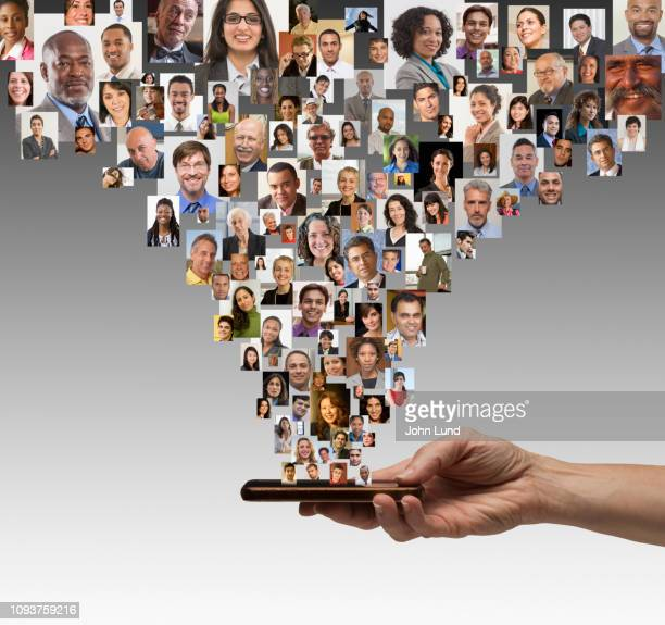 mobile social media network connections - demography stock pictures, royalty-free photos & images