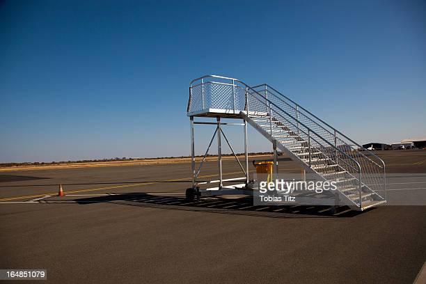 Mobile steps on an airport runway