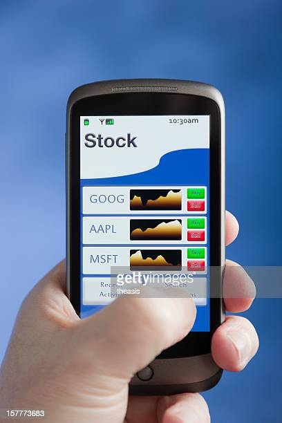 mobile stocks and shares - theasis bildbanksfoton och bilder