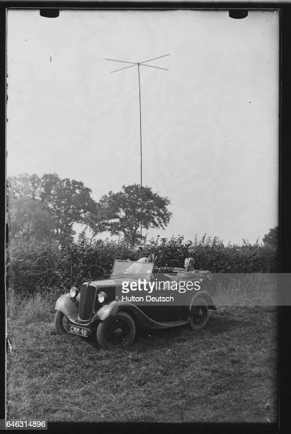 A mobile wireless station is fixed in a field | Location Billinghurst Sussex England UK
