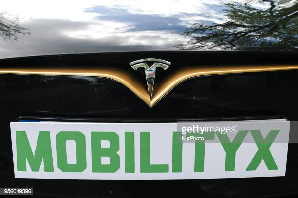A MobilityX sign seen attached to a stunning selfdriving enabled Tesla model S P100D at a launch event for the MobilityX selfdriving conference On...